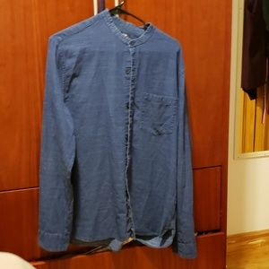 H&M speckled chambray like mandarin collar shirt